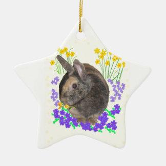 Cute Rabbit Photo and flowers Ceramic Star Ornament