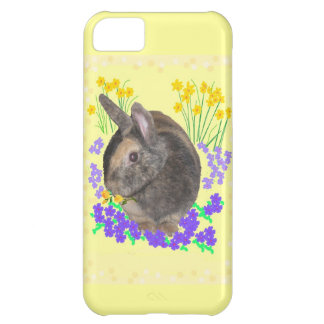 Cute Rabbit Photo and flowers iPhone 5C Cases
