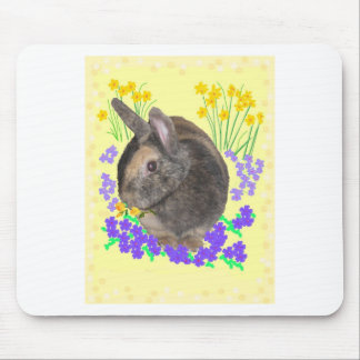 Cute Rabbit Photo and flowers Mouse Pad