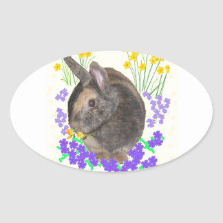 Cute Rabbit Photo and flowers Oval Sticker