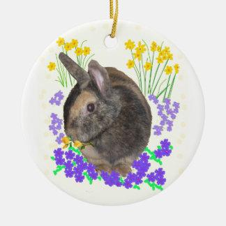 Cute Rabbit Photo and flowers Round Ceramic Ornament