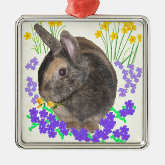 Cute Rabbit Photo and flowers Silver-Colored Square Ornament