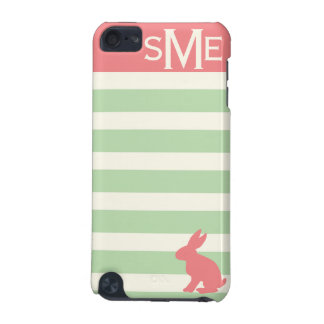 Cute rabbit, stripe and personalized monogram iPod touch 5G case