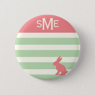 Cute rabbit stripe personalized monogram 2 inch round button