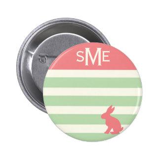 Cute rabbit stripe personalized monogram 2 inch round button