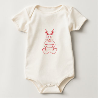 Cute Rabbit with I m So Cute Text Banner Baby Bodysuit