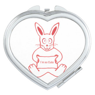 Cute Rabbit with I m So Cute Text Banner Compact Mirror