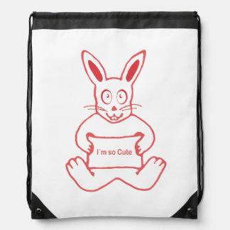 Cute Rabbit with I m So Cute Text Banner Drawstring Bag