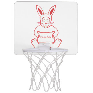 Cute Rabbit with I m So Cute Text Banner Mini Basketball Hoop