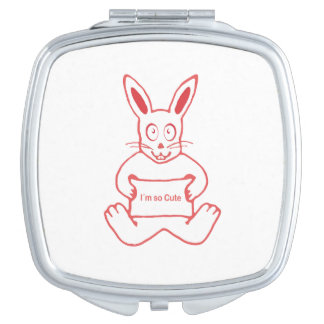 Cute Rabbit with I m So Cute Text Banner Travel Mirror