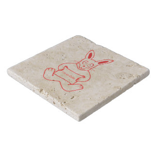 Cute Rabbit with I m So Cute Text Banner Trivet