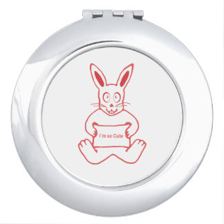 Cute Rabbit with I m So Cute Text Banner Vanity Mirror