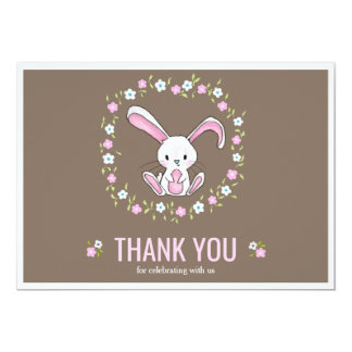 Cute Rabbit Woodland Baby Shower Thank You Card