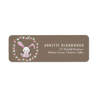 Cute Rabbit Woodland Pink Floral Baby Shower