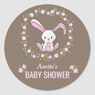 Cute Rabbit Woodland Pink Floral Baby Shower Classic Round Sticker