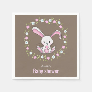 Cute Rabbit Woodland Pink Floral Baby Shower Disposable Napkin