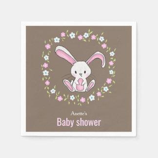 Cute Rabbit Woodland Pink Floral Baby Shower Napkin