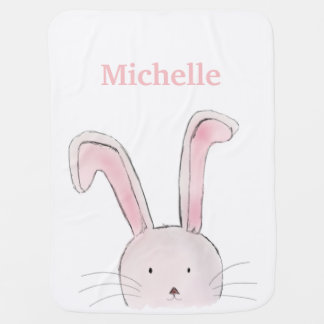 Cute Rabbit Woodland Pink Girly Baby Blanket