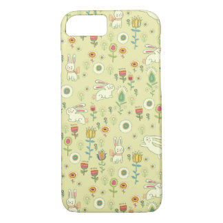Cute Rabbits and Flowers iPhone 7 Case