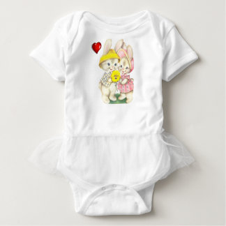 Cute rabbits baby bodysuit