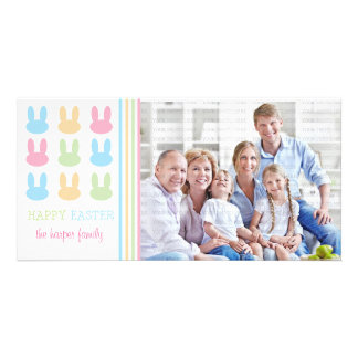 Cute Rabbits Happy Easter Customized Photo Card
