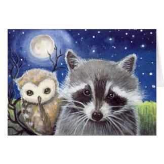 Cute Raccoon and Owl Fantasy Art Card