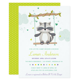 Cute Raccoon Baby Shower Invitation