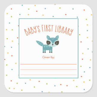 Cute Raccoon Baby's First Library bookplate Square Sticker