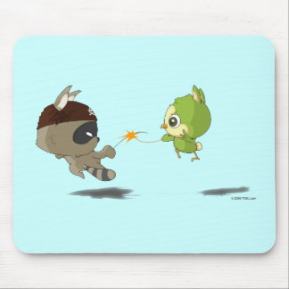 Cute Raccoon Bird Fencing Cartoon Anime Mousepad
