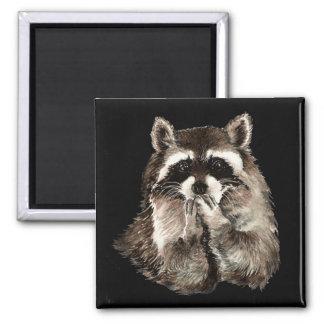 Cute Raccoon Blowing Kisses Humor animal art Magnet