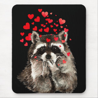 Cute Raccoon Blowing Kisses Love Hearts Mouse Pad