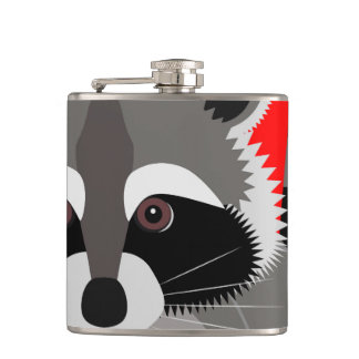 Cute Raccoon Drawing Flask