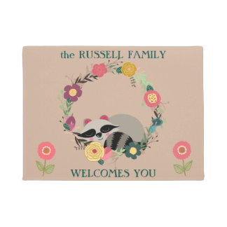 Cute Raccoon in Floral Wreath Doormat