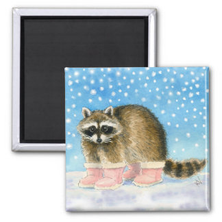 Cute raccoon in pink snow boots magnet