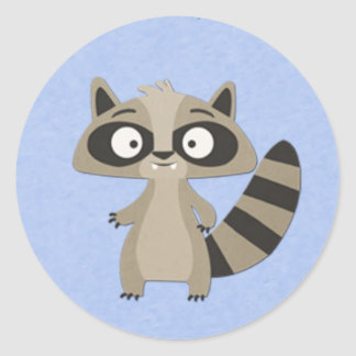 Cute Raccoon on Blue Classic Round Sticker