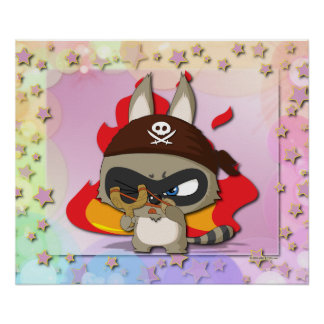 Cute Raccoon Pirate Funny Cartoon Slingshot Poster