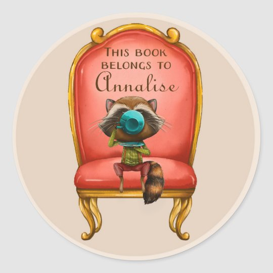 Cute Raccoon Sipping Tea in Red Chair Book Name Classic Round Sticker