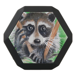 Cute Raccoon Watercolor Art Black Bluetooth Speaker
