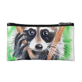 Cute Raccoon Watercolor Art Cosmetic Bag