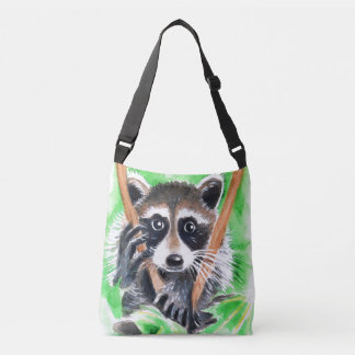 Cute Raccoon Watercolor Art Crossbody Bag