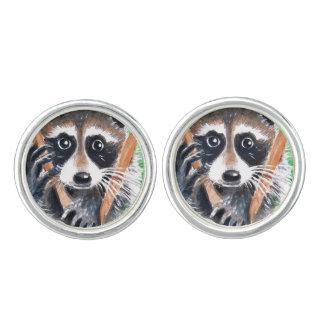 Cute Raccoon Watercolor Art Cufflinks