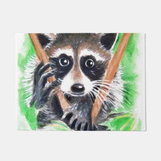 Cute Raccoon Watercolor Art Doormat
