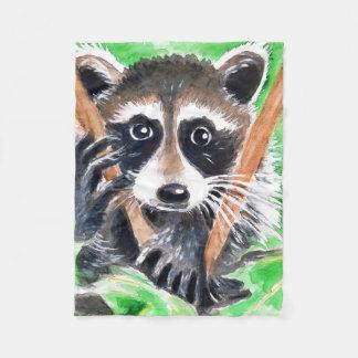 Cute Raccoon Watercolor Art Fleece Blanket