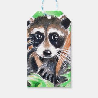 Cute Raccoon Watercolor Art Gift Tags