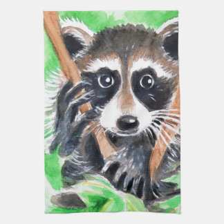 Cute Raccoon Watercolor Art Kitchen Towel