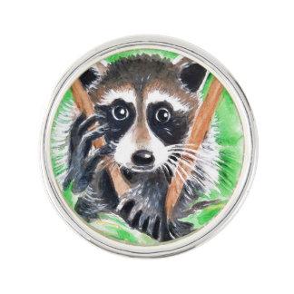 Cute Raccoon Watercolor Art Lapel Pin