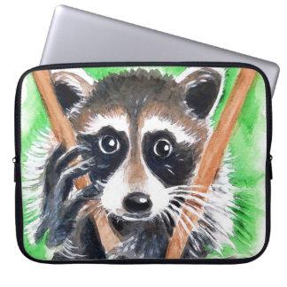 Cute Raccoon Watercolor Art Laptop Sleeve