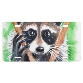 Cute Raccoon Watercolor Art License Plate