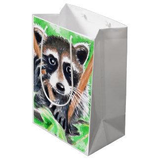 Cute Raccoon Watercolor Art Medium Gift Bag