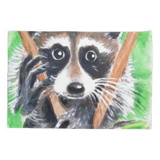 Cute Raccoon Watercolor Art Pillowcase